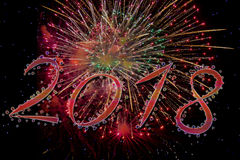2018 Happy new year with fireworks Stock Images