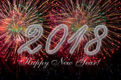 2018 Happy new year with fireworks Royalty Free Stock Image