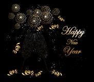Happy new year 2014 fireworks greeting card Royalty Free Stock Photos