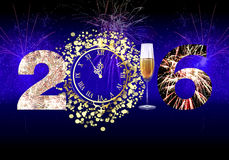 Happy New Year 2016 fireworks. Greeting New year card in 2016. Setting New Year 2016 fireworks of 2, table clock, a glass of champagne and the number 6 Create a Stock Photos