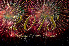 2018 Happy new year with fireworks. Greetings card background Stock Image