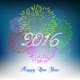 Happy new year 2016 with fireworks holiday background. Happy new year fireworks 2016 holiday background design Stock Photos