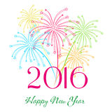 Happy new year 2016 with fireworks holiday background Stock Images