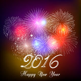 Happy new year 2016 with fireworks holiday background Stock Photos