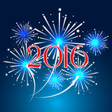 Happy new year 2016 with fireworks holiday background Royalty Free Stock Photography