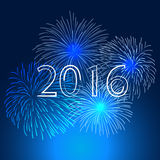 Happy new year 2016 with fireworks holiday background Stock Photo