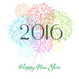 Happy new year 2016 with fireworks holiday background Stock Photography