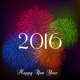 Happy new year 2016 with fireworks holiday background Royalty Free Stock Image