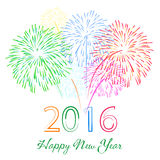 Happy new year 2016 with fireworks holiday background Royalty Free Stock Images