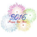 Happy new year 2016 with fireworks holiday background Royalty Free Stock Photos