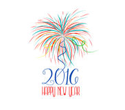 Happy new year fireworks 2016 holiday background design Stock Image