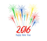 Happy new year fireworks 2016 holiday background design Royalty Free Stock Images