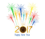 Happy new year fireworks 2017 holiday background design.  Royalty Free Stock Photos