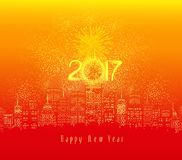 Happy new year fireworks 2017 holiday background design.  Stock Photos