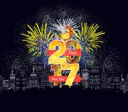 Happy new year fireworks 2017 holiday background design.  Stock Images