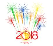 Happy new year fireworks 2018 holiday background design. Year of the dog Royalty Free Stock Images