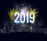 Happy new year fireworks 2019 holiday background design.  Stock Photo