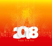 Happy new year fireworks 2018 holiday background gold ball design.  Royalty Free Stock Images