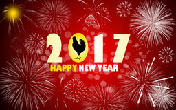 Happy new year 2017. With fireworks illustration background Stock Photos