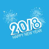 Happy new year 2018 of fireworks. Illustrator Vector Eps 10 stock illustration