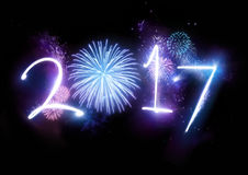 2017 Happy New Year Fireworks Stock Image