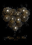 Happy new year 2014 fireworks love heart background Royalty Free Stock Image
