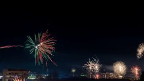 Happy New Year. Fireworks in Montana, Bulgaria for the NEw Year Royalty Free Stock Photo