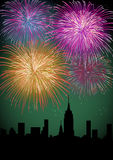 Happy New Year fireworks night city. Happy New Year fireworks skyscraper silhouette night city scene. EPS10 vector with transparencies layered for easy Royalty Free Stock Photo