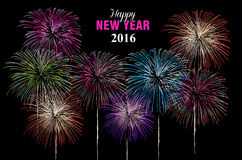 Happy new year 2016 fireworks night poster Royalty Free Stock Photography
