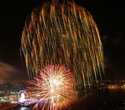 Happy New Year fireworks night scene, bangkok cityscape river vi Stock Images