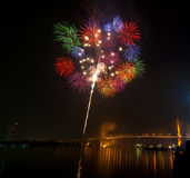Happy New Year fireworks night scene, bangkok cityscape river vi. Ew, over big bridge Royalty Free Stock Photo