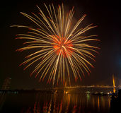 Happy New Year fireworks night scene, bangkok cityscape river vi. Ew, over big bridge Stock Photo