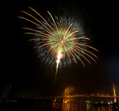 Happy New Year fireworks night scene, bangkok cityscape river vi. Ew, over big bridge Stock Photos