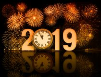 New year 2019 fireworks with clock face royalty free stock photos
