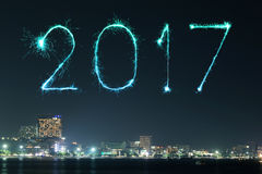 2017 Happy New Year Fireworks over Pattaya beach at night, Thail. 2017 Happy New Year Fireworks celebrating over Pattaya beach at night, Thailand Stock Images