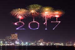 2017 Happy New Year Fireworks over Pattaya beach at night, Thail. 2017 Happy New Year Fireworks celebrating over Pattaya beach at night, Thailand Stock Photo