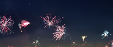 happy new year fireworks over the roofs of Vienna in Austria royalty free stock photos