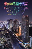 2017 Happy New Year Fireworks over Tokyo cityscape at night,. 2017 Happy New Year Fireworks celebrating over Tokyo cityscape at night, Japan stock photo