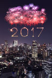 2017 Happy New Year Fireworks over Tokyo cityscape at night, Jap. 2017 Happy New Year Fireworks celebrating over Tokyo cityscape at night, Japan Stock Photography