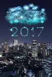 2017 Happy New Year Fireworks over Tokyo cityscape at night, Jap. 2017 Happy New Year Fireworks celebrating over Tokyo cityscape at night, Japan Stock Photos
