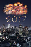 2017 Happy New Year Fireworks over Tokyo cityscape at night, Jap. 2017 Happy New Year Fireworks celebrating over Tokyo cityscape at night, Japan Royalty Free Stock Photo
