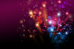 Happy New Year fireworks Paris with Eiffel tower or France day Royalty Free Stock Image