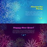 Happy New Year. Fireworks Party. Salute Elements. Happy New Year fireworks party with salute elements. Vector illustration banner in flat style for celebration Stock Image
