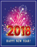 2018 Happy New Year Fireworks. Postcard Happy New Year 2018 on a background of fireworks Stock Photography
