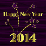 Happy New Year 2014. With fireworks on purple background Stock Photos
