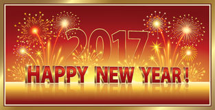 Happy new year 2017 with fireworks Stock Images