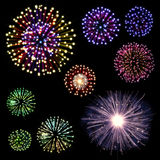 Happy New Year Fireworks set Royalty Free Stock Photo