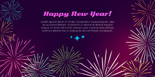 Happy New Year. Fireworks Set. Pyrotechnic devices. Happy New Year fireworks burst salute elements vector illustration. Banner in flat style for celebration of Stock Image