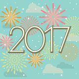 Happy New Year 2017 fireworks in sky.  Royalty Free Stock Image