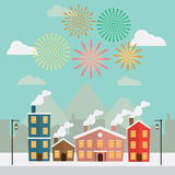 Happy New Year fireworks in sky at city.  Royalty Free Stock Images